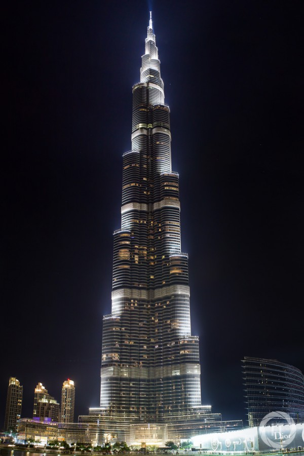 A vertical long exposure panorama by night from the Burh Khalifa. Shot from the bridge between the Dubai Mall and Souk al Bahar