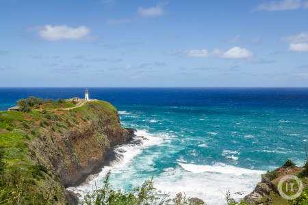 A view at Kilauea Point, showing the beautiful turquoise and azure waters
