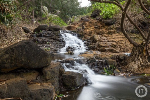 A long exposure shot of the waterfall just before Queen's Bath