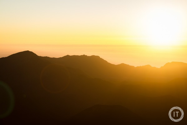 The silhouette of the Haleakala crater during sunrise