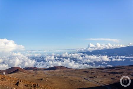 A view downwards Mauna Kea Access Road from near the summit (4100m) of Mauna Kea