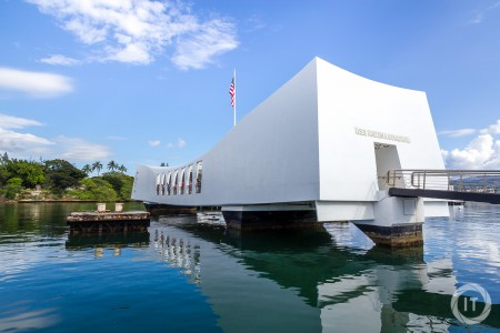 A view upon the USS Arizona Memorial from upon the shuttle boat