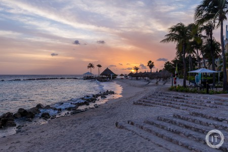 The sun setting over the ocean at the Marriott hotel in Curaçao