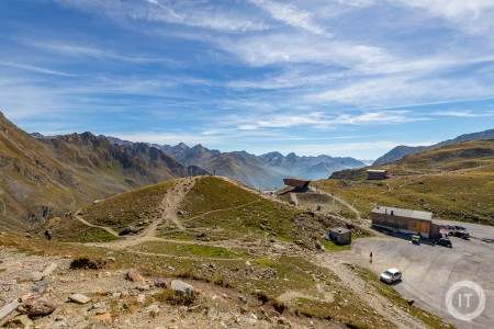A view across the mountains from a rest stop on the Timmelsjoch mountain pass